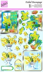 A4 Stansvel Foiled Decoupage ANT169486 Daffodils in the Wind