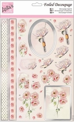 A4 Stansvel Foiled Decoupage ANT169443 Dusky Rose