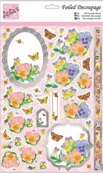 A4 Stansvel Foiled Decoupage ANT169421 Pretty Pansies