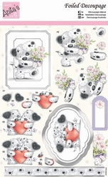 A4 Stansvel Foiled Decoupage ANT169411 Valentine Bear
