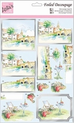 A4 Stansvel Foiled Decoupage ANT169431 Riverside Town