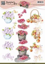3D Knipvel Jeanines Art CD10664 Viooltjes/rozen/fruit