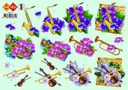A4 Knipvel Carddeco HJ0331 Trompet/saxofoon/viool