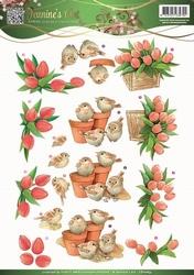 3D Knipvel Jeanines Art 10835 Garden Classics Tulips & Birds