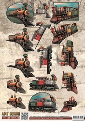 3D Knipvel Amy Design CD10849 Vintage Vehicles Trains/trein