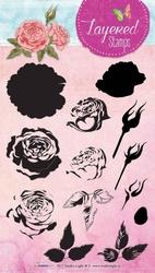 StudioLight Layered Stamps STAMPLS13 Bloemen roos