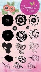 StudioLight Layered Stamps STAMPLS17 Bloemen roos