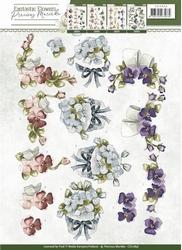 3D Knipvel Precious Marieke CD10856 Fantastic Flowers Violet