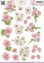 3D Knipvel Jeanines Art CD10510 Witte & roze bloemen