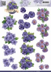 3D Knipvel Jeanines Art CD10509 Paarse bloemen