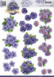3D Knipvel Jeanine's Art CD10509 Paarse bloemen