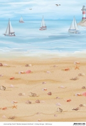 Background vel BGS10032 Amy Design Maritime Strand/bootjes