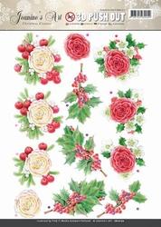 A4 Pushout Jeanines Art SB10170 Christmas Classics Rose