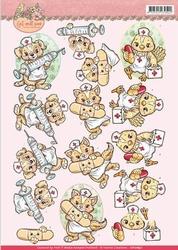 3D Knipvel Yvonne CD10897 Get Well Soon Animal nurses