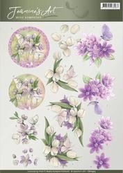 3D Knipvel Jeanines Art CD10913 With Sympathy Violet flowers