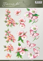 3D Knipvel Jeanines Art CD10914 With Sympathy Pink flowers
