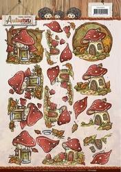 3D Knipvel Yvonne CD10949 Autumn Colors Mushrooms Houses
