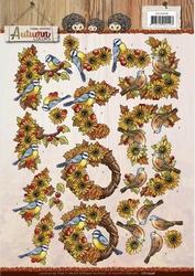 3D Knipvel Yvonne CD10948 Autumn Colors Birds - vogels
