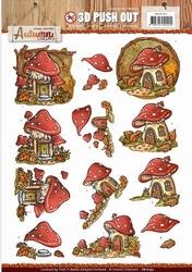 3D Stansvel Yvonne SB10193 Autumn Colors Mushrooms Houses
