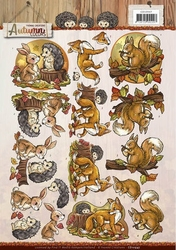 3D Knipvel Yvonne CD10947 Autumn Colors Animals