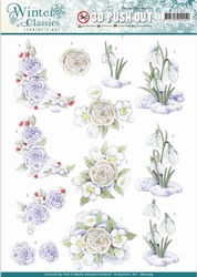 A4 Pushout Jeanines Art SB10203 Winter Classics Snow flowers