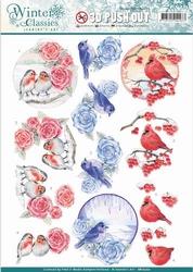 A4 Pushout Jeanines Art SB10202 Winter Classics Birds