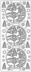 Kerst stickervel 1735 Landschap Rond Lantaar
