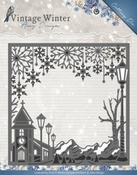 Amy Design Die ADD10120 Vintage Winter Village Frame Square