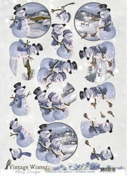 3D Knipvel Amy CD10983 Vintage Winter Snowman