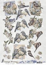 3D Knipvel Amy CD10984 Vintage Winter Birds