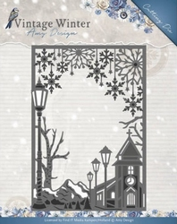 Amy Design Die ADD10121 Vintage Winter Village Frame Straigh