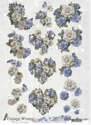 3D Knipvel Amy CD10985 Vintage Winter Flowers