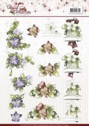 3D Knipvel Marieke Joyful Christmas CD10944 Christmas Rose