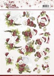 3D Knipvel Marieke Joyful Christmas CD10943 Santa on branch