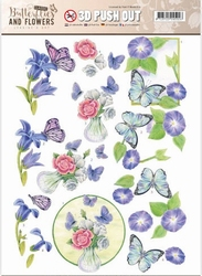 A4 Pushout Jeanine SB10217 Classic Butterflies and Flowers