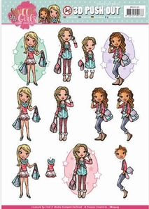 3D Push Out Yvonne Creations SB10223 Sweet Girls My World