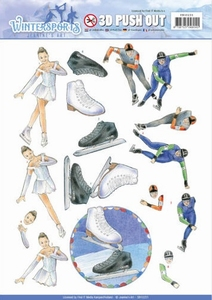 A4 Pushout Jeanines Art SB10231 Wintersports Ice Skating