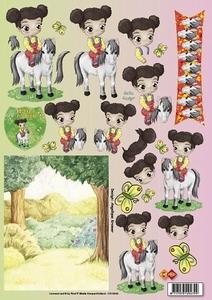 3D Knipvel Angelique Kramer CD10040 Meisje op paard