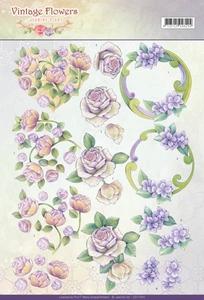 A4 Knipvel Jeanine CD11044 Vintage Flowers Romantic Purple