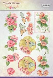 A4 Knipvel Jeanine CD11046 Vintage Flowers Sweetheart Pink