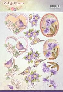 A4 Knipvel Jeanine CD11048 Vintage Flowers Pale Violet