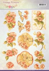 A4 Knipvel Jeanine CD11047 Vintage Flowers Sweetheart
