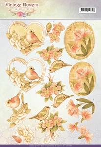 A4 Knipvel Jeanine CD11049 Vintage Flowers Pale Vintage