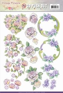 A4 Pushout Jeanine SB10236 Vintage Flowers Romantic Purple