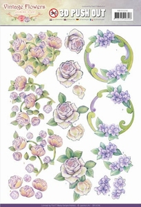 A4 Pushout Jeanine SB10236 Vintage Flowers Romantic Purple
