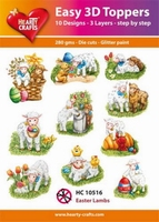 Hearty Crafts Easy 3D Toppers HC10516 Lammetjes/lambs