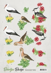A4 knipvel Doortjes Design CD11055 Meadow birds/weidevogels
