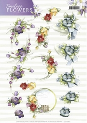 3D Knipvel Marieke Timeless Flowers CD11083 Violets/viooltje