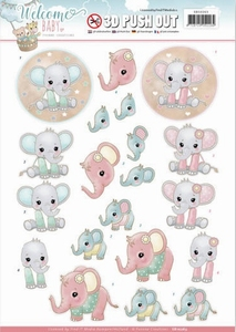 3D Stansvel Yvonne SB10263 Welcome Baby Little Elephants