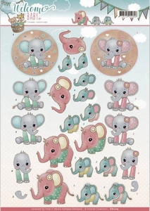 3D Knipvel Yvonne CD11115 Welcome Baby Little Elephants